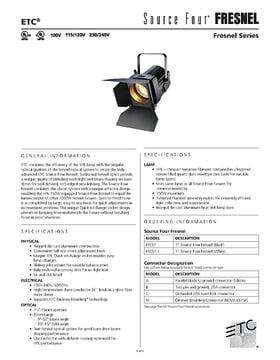 ETC S4 Fresnel Specs
