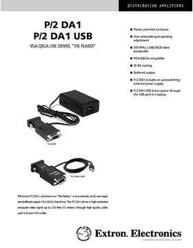 Extron P/2 DA1 Datasheet
