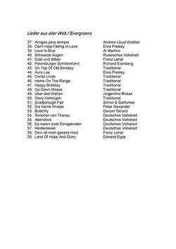Inhaltsverzeichnis Lieder aus aller Welt/Evergreens