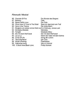 Inhaltsverzeichnis Filmmusik/Musical