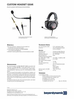 Datenblatt: Headset