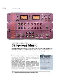 Sound & Recording Dangerous Music