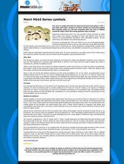 MusicRadar.com Meinl Mb10 Series cymbals