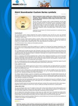 MusicRadar.com Meinl Soundcaster Custom Series cymbals