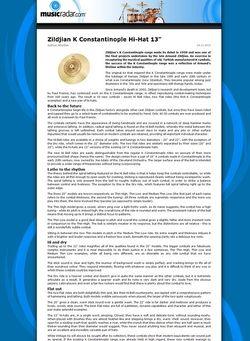 MusicRadar.com Zildjian K Constantinople Hi-Hat 13