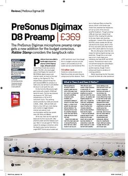 Future Music PreSonus Digimax D8 Preamp