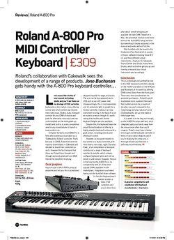 Future Music Roland A-800 Pro MIDI Controller Keyboard