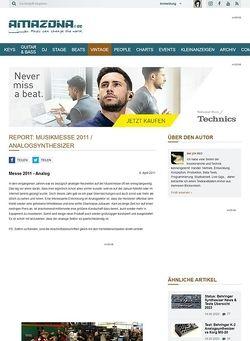 Amazona.de Report: Musikmesse 2011 / Analogsynthesizer