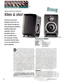 Recording Magazin Klein & oho - Focal CMS & CMS Sub