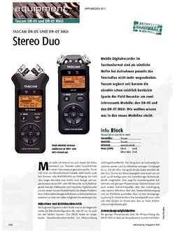 Recording Magazin Stereo Duo - Tascam DR-05 und DR-07 MKII