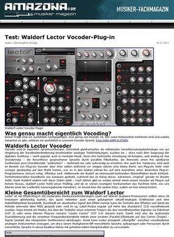 Amazona.de Test: Waldorf, Lector, Vocoder-Plug-in