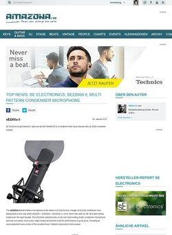 Amazona.de Top News: sE Electronics, sE2200a II, Multi Pattern Condenser Microphone
