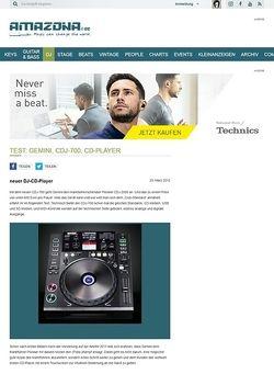 Amazona.de Test: Gemini, CDJ-700, CD-Player