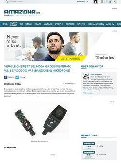 Amazona.de Vergleichstest: sE 4400a (Großmembran) vs. sE Voodoo VR1 (Bändchen) Mikrofone