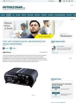 Amazona.de Test: ART, Phono Plus PS, USB-Interface mit Phono-Verstärker