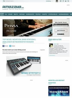 Amazona.de Top News: Novation, Bass Station II, Analoger Keyboardsynthesizer