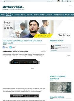 Amazona.de Top-News: Behringer X32 Core, Digitaler Rack Mixer