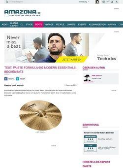 Amazona.de Test: PAISTE Formula 602 Modern Essentials, Beckensatz