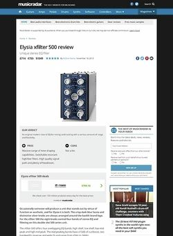 MusicRadar.com Elysia xfilter 500