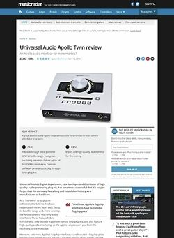 MusicRadar.com Universal Audio Apollo Twin