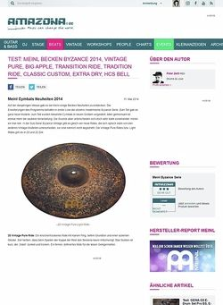 Amazona.de Test: Meinl Becken Byzance 2014, Vintage Pure, Big Apple, Transition Ride, Tradition Ride, Classic Custom, Extra Dry, HCS Bell