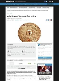 MusicRadar.com Meinl Byzance Transition Ride