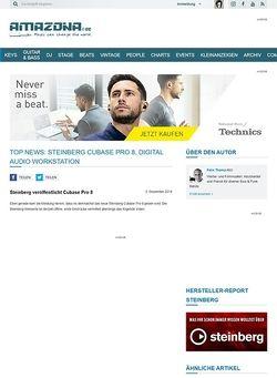 Amazona.de Top News: Steinberg Cubase Pro 8, Digital Audio Workstation