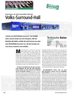 Recording Magazin Volks-Surround-Hall – Lexicon MX 400 XL