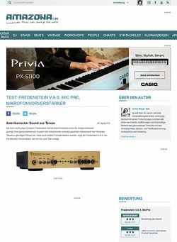 Amazona.de Test: Fredenstein V.A.S. Mic Pre, Mikrofonvorverstärker
