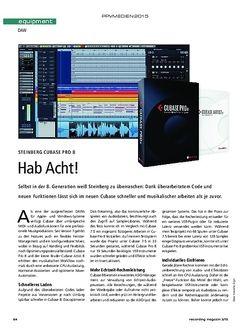 Recording Magazin Steinberg Cubase Pro 8