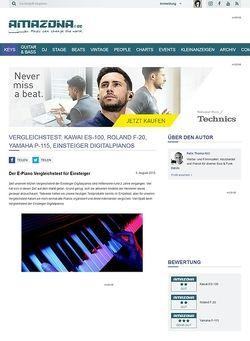 Amazona.de Vergleichstest: Kawai ES-100, Roland F-20, Yamaha P-115, Einsteiger Digitalpianos