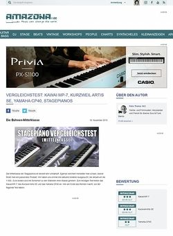 Amazona.de Vergleichstest: Kawai MP-7, Kurzweil Artis SE, Yamaha CP40, Stagepianos