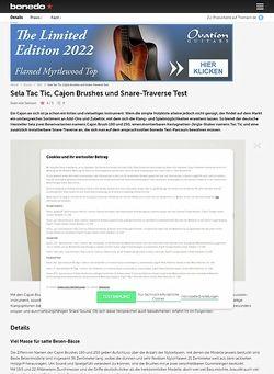 Bonedo.de Sela Tac Tic, Cajon Brushes und Snare-Traverse