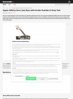 Bonedo.de Squier Affinity Serie Jazz Bass with Fender Rumble 15 Amp