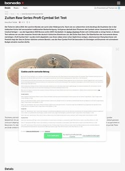 Bonedo.de Zultan Raw Series Profi Cymbal Set