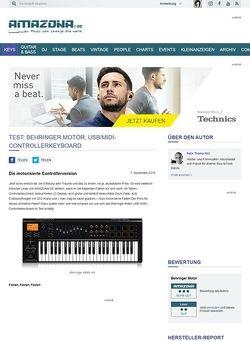 Amazona.de Test: Behringer Motör, USB/MIDI-Controllerkeyboard