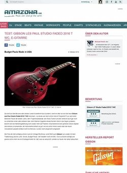 Amazona.de Test: Gibson Les Paul Studio Faded 2016 T WC, E-Gitarre