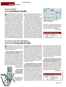 KEYS Kurztests: Sony Acid Music Studio + Samson G-Track GM 1U USB