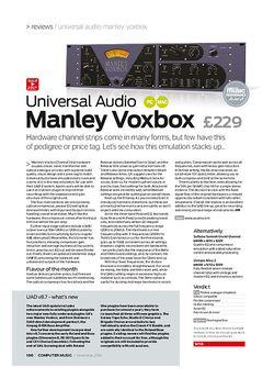 Computer Music Universal Audio Manley Voxbox