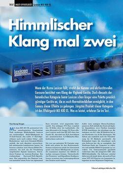 Professional Audio Himmlischer Klang mal zwei: Lexicon MX 400 XL