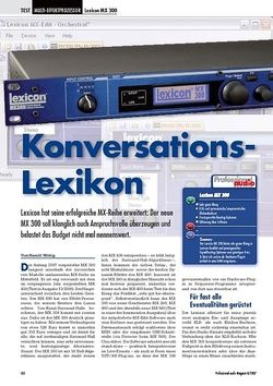 Professional Audio Konversations - Lexicon MX 300