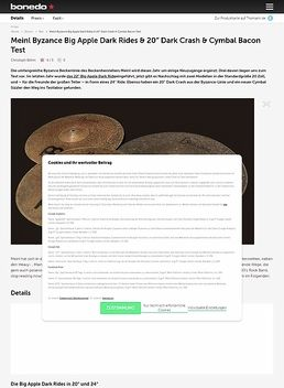 Meinl Byzance Big Apple Dark Rides, 20 Zoll Dark Crash & Cymbal Bacon