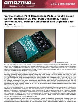 Vergleichstest: Fünf Compressor-Pedale für die dicken Saiten: Behringer CS 100, MXR Dynacomp, Harley Benton BLM-1, Palmer Compressor und DigiTech Bass Squeeze