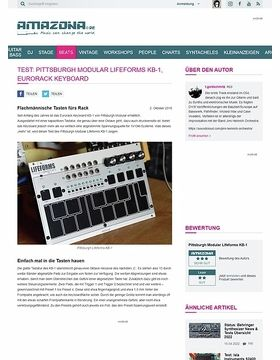 Test: Pittsburgh Modular Lifeforms KB-1, Synthesizer Modul