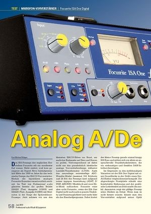 Professional Audio Analog A/De: Focusrite ISA One Digital