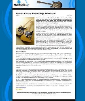 MusicRadar.com Fender Classic Player Baja Telecaster