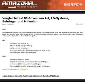 Amazona.de Vergleichstest: DI-Boxen, Art Z direct, Art X direct, LD-Systems LDI 02, Behringer DI 100 ultra DI & Millenium dB400