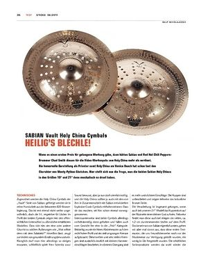 Sticks Sabian Vault Holy China Cymbals