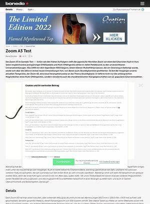 Bonedo.de Zoom A3 Test