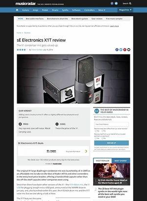 MusicRadar.com sE Electronics X1T